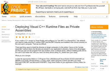 http://www.codeproject.com/Articles/104529/Deploying-Visual-C-Runtime-Files-as-Private-Assemb