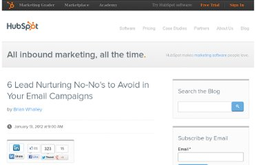 http://blog.hubspot.com/blog/tabid/6307/bid/30732/6-Lead-Nurturing-No-No-s-to-Avoid-in-Your-Email-Campaigns.aspx