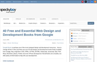 http://speckyboy.com/2009/07/06/40-free-and-essential-web-design-and-development-books-from-google/