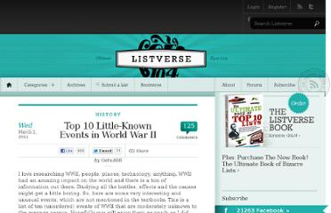 http://listverse.com/2011/03/02/top-10-little-known-events-in-world-war-ii/