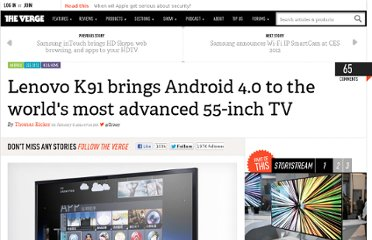 http://www.theverge.com/2012/1/8/2692442/lenovo-k91-brings-android-4-0-to-the-worlds-most-advanced-55-inch-tv