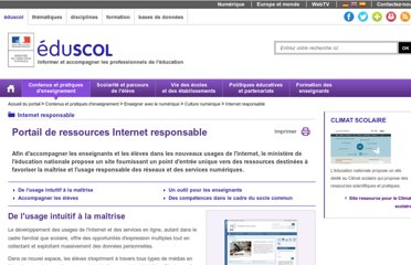 http://eduscol.education.fr/cid58727/internet-responsable.html