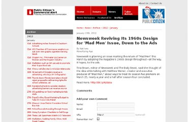 http://www.commercialalert.org/news/archive/2012/01/newsweek-reviving-its-1960s-design-for-mad-men-issue-down-to-the-ads