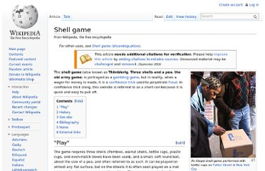 http://en.wikipedia.org/wiki/Shell_game