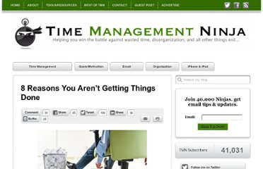 http://timemanagementninja.com/2012/01/8-reasons-you-arent-getting-things-done/
