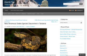 http://atomicyeti.net/2012/01/14/new-venomous-snake-species-discovered-in-tanzania/