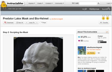 http://www.instructables.com/id/Predator-Latex-Mask-and-Bio-Helmet/step2/Sculpting-the-Mask/