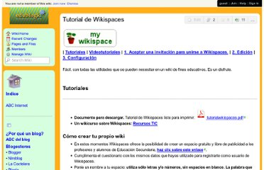 http://edublogki.wikispaces.com/Tutorial+de+Wikispaces