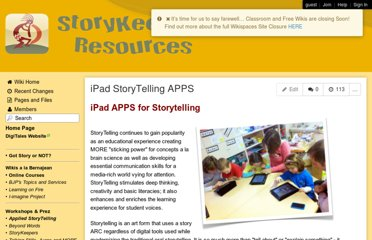 http://storykeepers.wikispaces.com/iPad+StoryTelling+APPS