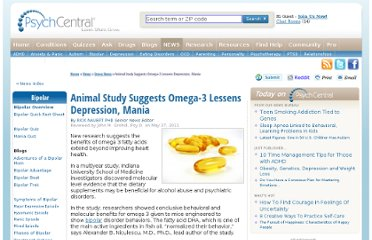 http://psychcentral.com/news/2011/05/27/animal-study-suggests-omega-3-lessens-depression-mania/26527.html