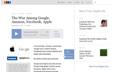 http://www.npr.org/2011/11/03/141976518/the-war-between-google-amazon-facebook-apple