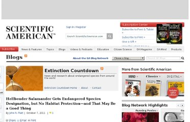 http://blogs.scientificamerican.com/extinction-countdown/2011/10/07/hellbender-salamander-gets-endangered-species-designation-but-no-habitat-protection/