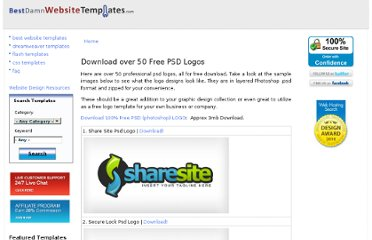 http://www.bestdamnwebsitetemplates.com/download-free-psd-logos