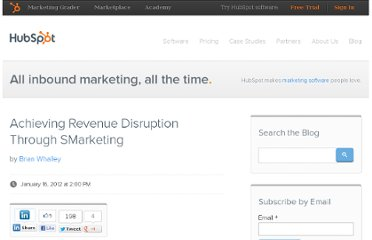 http://blog.hubspot.com/blog/tabid/6307/bid/30764/Achieving-Revenue-Disruption-Through-SMarketing.aspx