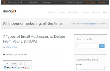 http://blog.hubspot.com/blog/tabid/6307/bid/30852/7-Types-of-Email-Addresses-to-Delete-From-Your-List-NOW.aspx