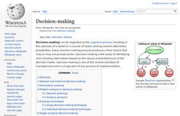 http://en.wikipedia.org/wiki/Decision_making