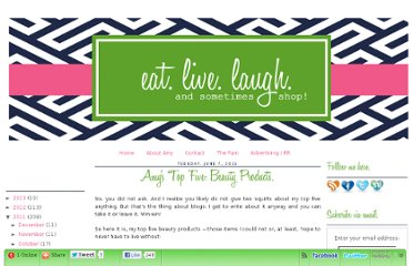 http://www.eatlivelaughshop.com/2011/06/amys-top-five-beauty-products.html