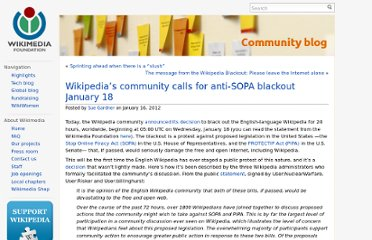 http://blog.wikimedia.org/2012/01/16/wikipedias-community-calls-for-anti-sopa-blackout-january-18/