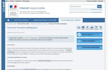http://eduscol.education.fr/internet-responsable/se-documenter-publier/visualiser-projeter-des-contenus/faire-jouer-lexception-pedagogique.html