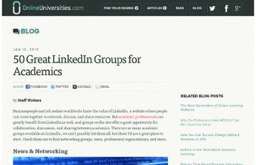 http://www.onlineuniversities.com/50-great-linkedin-groups-for-academics