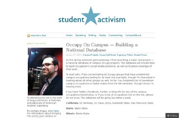http://studentactivism.net/2012/01/17/occupy-on-campus-building-a-national-database/