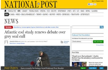http://news.nationalpost.com/2012/01/16/atlantic-cod-study-stokes-debate-over-government-sanctioned-seal-killing/