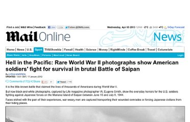 http://www.dailymail.co.uk/news/article-2087023/World-War-II-photographs-American-soldiers-fight-survival-brutal-Battle-Saipan.html