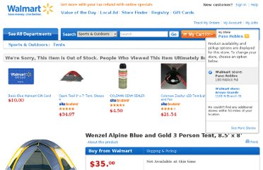 http://www.walmart.com/ip/Wenzel-Alpine-8.5-x-8-Tent-Blue-and-Gold/13228636