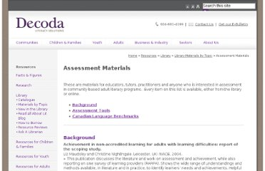 ... is interested in assessment in community-based adult literacy programs.