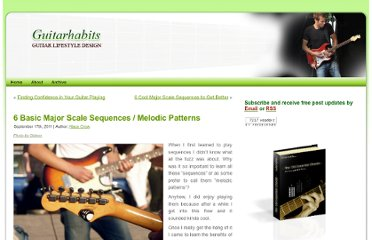 http://www.guitarhabits.com/6-basic-major-scale-sequences-melodic-patterns/