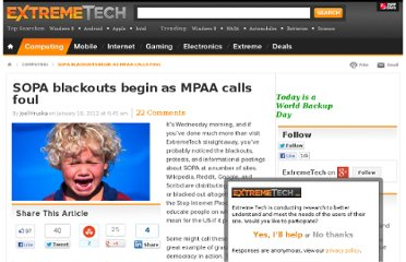 http://www.extremetech.com/computing/114411-sopa-blackouts-begin-as-mpaa-calls-foul