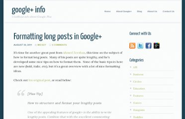 http://www.gplusinfo.com/formatting-long-posts-in-google/