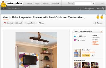 http://www.instructables.com/id/How-to-Make-Suspended-Shelves-with-Steel-Cable-and/