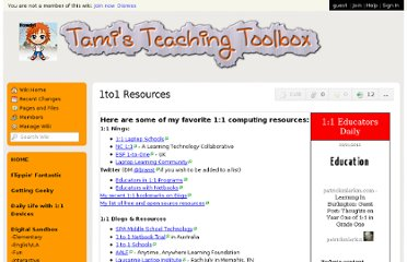 http://teachingtoolbox.wikispaces.com/1to1+Resources