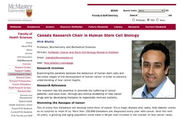 http://fhs.mcmaster.ca/main/canada_chairs/human_stem_cell_biology_chair.html