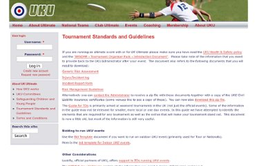 http://www.ukultimate.com/about_the_uku/tournament_standards_and_guidelines