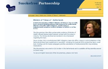 http://www.smokefreepartnership.eu/Minister-of-Tobacco-Netherlands