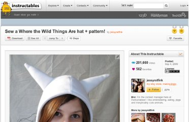 http://www.instructables.com/id/Sew-a-Where-the-Wild-Things-Are-hat-pattern/