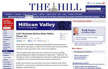 http://thehill.com/blogs/hillicon-valley/technology/205345-gop-chairman-postpones-piracy-legislation#.TxmJHJVYpVQ.twitter