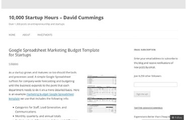 http://davidcummings.org/2011/11/25/google-spreadsheet-marketing-budget-template-for-startups/