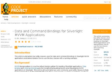 http://www.codeproject.com/Articles/154736/Data-and-Command-Bindings-for-Silverlight-MVVM-App