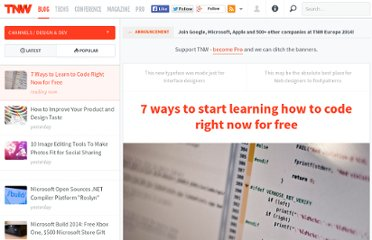 http://thenextweb.com/dd/2012/01/21/7-ways-to-start-learning-how-to-code-right-now-for-free/