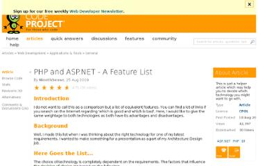 http://www.codeproject.com/Articles/102854/PHP-and-ASP-NET-A-Feature-List