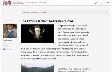 http://io9.com/5877226/the-circus-elephant-retirement-home