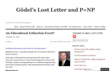 http://rjlipton.wordpress.com/2010/01/29/an-educational-extinction-event/