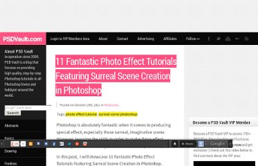http://www.psdvault.com/resources/11-fantastic-photo-effect-tutorials-featuring-surreal-scene-creation-in-photoshop/
