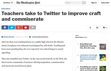 http://www.washingtonpost.com/local/education/teachers-take-to-twitter-to-improve-craft-and-commiserate/2012/01/19/gIQAGv8UGQ_story.html