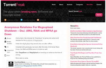 http://torrentfreak.com/anonymous-retaliates-for-megaupload-shutdown-120120/