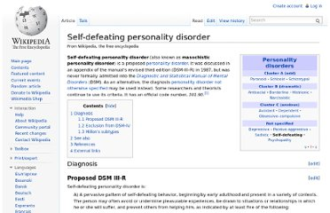 http://en.wikipedia.org/wiki/Self-defeating_personality_disorder