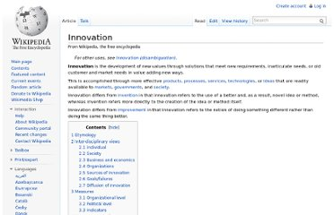 http://en.wikipedia.org/wiki/Innovation
